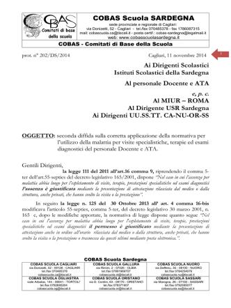 COBAS - seconda diffida DS Sardegna per applicazione malattia