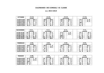 CALENDARIO DEI CONSIGLI DI CLASSE a.s. 2014