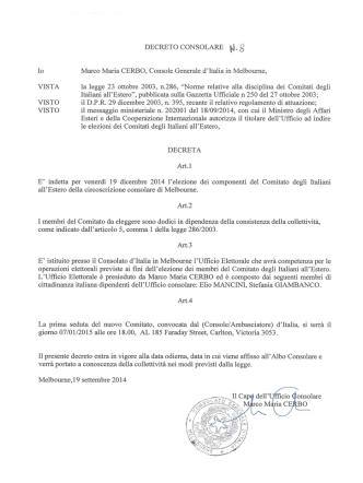 DECRETO CONSOLARE 8 Io Marco Maria CERBO, Console