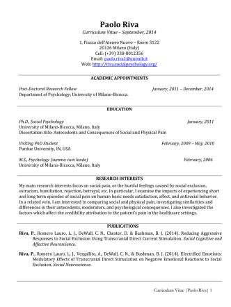 Curriculum Vitae - Paolo Riva