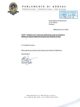 Brief d.d. 10 november 2014 van het Statenlid C.F. Cooper aan de