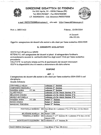 Decreto di assegnazione docenti - Direzione Didattica di Fidenza