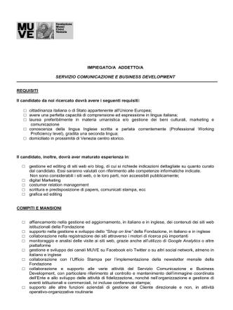 Addetta/o Comunicazione e Business Development