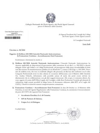 circolare 20/2014 - Collegio Nazionale dei Periti Agrari » e dei Periti