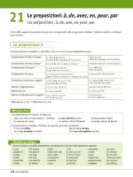 21 Le preposizioni: à, de, avec, en, pour, par