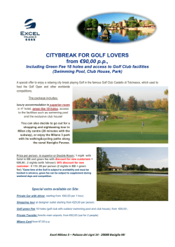 CITYBREAK FOR GOLF LOVERS from €90,00 p.p.,