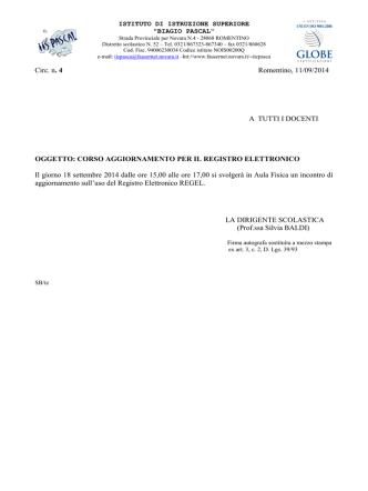CORSO AGGIORNAMENTO PER IL REGISTRO ELETTRONICO Il