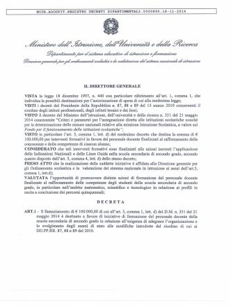 Decreto direttoriale 890/2014 che si allega