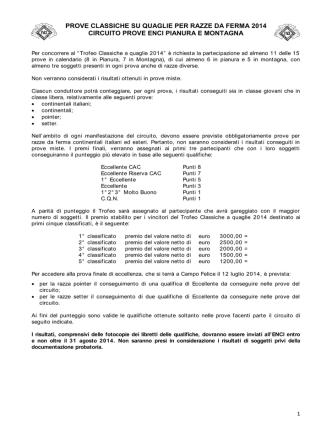 Calendario prove classiche su quaglie per razze da ferma 2014
