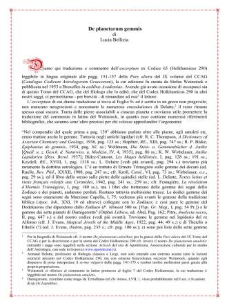 De planetarum gemmis di Epitomatore del XV secolo