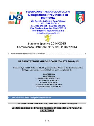 Delegazione Provinciale di BRESCIA Comunicato
