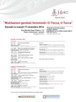 Mutilazioni genitali femminili: Ci Tocca, ti Tocca