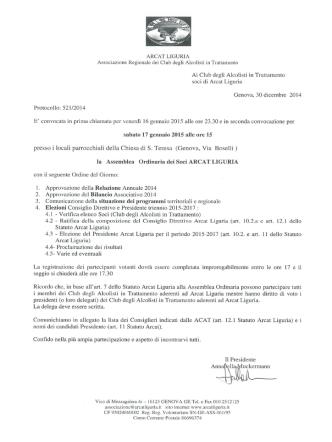 assemblea ordinaria dei soci arcat liguria sabato 17 gennaio 2015