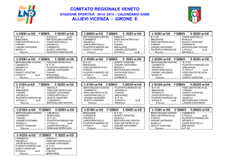 Calendario Allievi Girone E 2014-2015