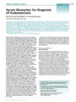 Serum Biomarker for Diagnosis of Endometriosis