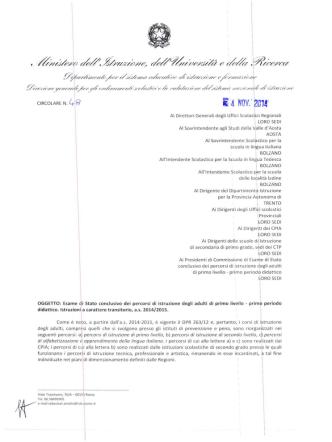 CM 48 Miur del 4 novembre 2014 (ca 3MB) pdf