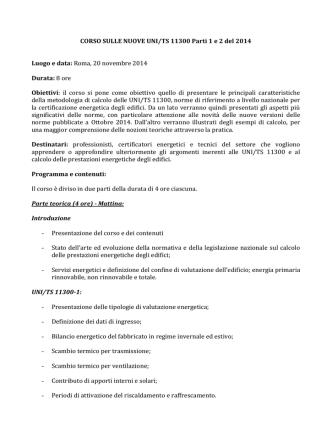 CORSO SULLE NUOVE UNI/TS 11300 Parti 1 e 2 del 2014 Luogo e