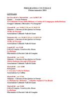 PROGRAMMA CULTURALE Primo semestre 2015 GENNAIO XV