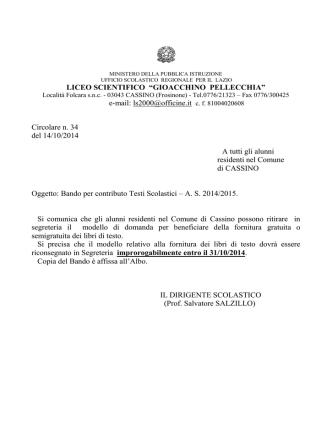 Bando a. s. 2014-2015 - liceo scientifico pellecchia