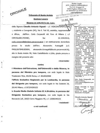 deila Signora Claudia Antonia Vignati - c.f. VGNCDN7DÎH 7C1