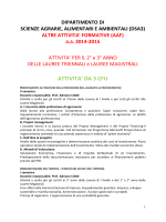 Offerta didattica AAF per il II e III anno delle lauree Triennali e