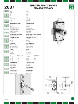 2687 serratura ad aste rotanti espagnolette lock