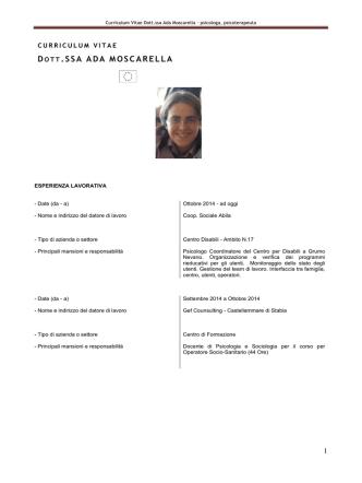 Curriculum Vitae Dott.ssa Ada Moscarella