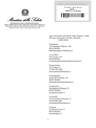 Circolare Ministeriale della Salute DGDFSC n. 48421-P