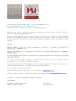 COMUNICAZIONE IMPORTANTE – DATA FEBBRAIO 2015 XX