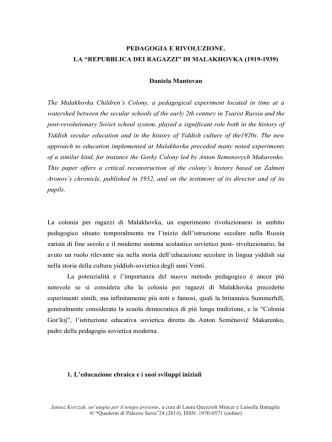 """Barukh Shvartsman e la """"Repubblica dei Ragazzi"""""""