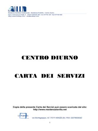 Carta dei servizi del Centro Diurno