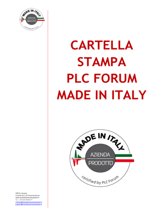 CARTELLA STAMPA PLC FORUM MADE IN ITALY