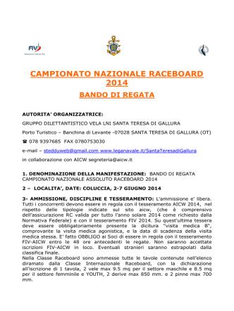 BANDO CAMPIONATO NAZIONALE ASSOLUTO RACEBOARD 2014