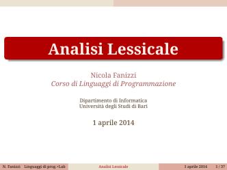 Analisi Lessicale - LACAM - Università degli Studi di Bari
