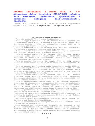 Attuazione della direttiva 2010/75/UE relativa alle