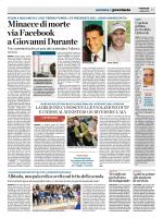 Minacce di morte via Facebook a Giovanni Durante