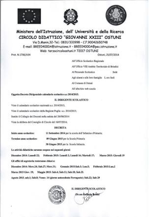 calendario scolastico 2014-2015 - Terzo Circolo Ostuni