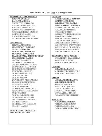 DELEGATI 2012/2014 (agg. al 21 maggio 2014) PIEMONTE – VAL