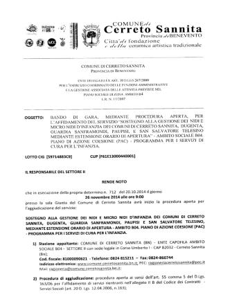 bando servizi pac - Comune di Cerreto Sannita