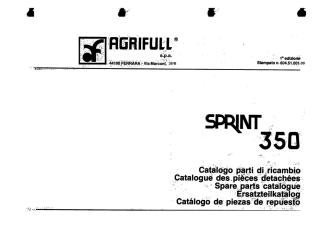 AGRIFULL SPRINT 350 - Catalogue pièces