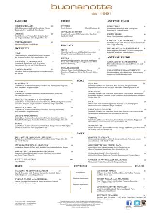 Buonanotte Toronto menu