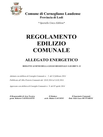 Allegato Energetico RE_2014 - Comune di Cornegliano Laudense