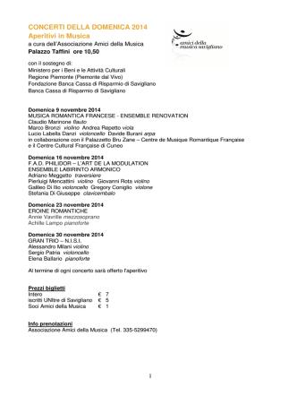 AdM - Concerti aperitivo 2014 e Stagione artistica