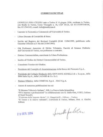 CURRICULUM VITAE LIONELLO JONA CELESIA nato a