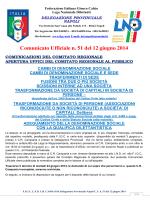 Comunicato Ufficiale n. 51 del 12 giugno 2014