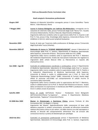CV PORZIA A - Dipartimento di Medicina Molecolare