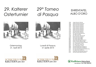 29. Kalterer Osterturnier 29° Torneo di Pasqua