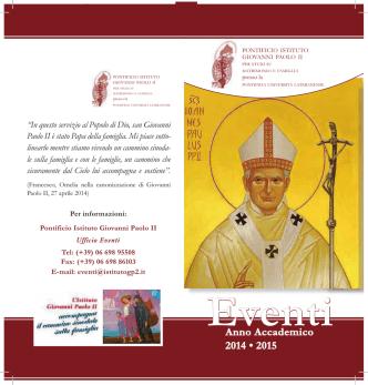 Consulta qui il programma - Pontificio Istituto Giovanni Paolo II per