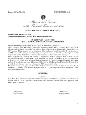 Delibera n° 5 del 03/09/2014 - Albo Nazionale Gestori Ambientali