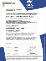 Cert. ISO 18001-2007 - Bellelli Engineering SPA